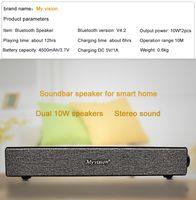 Gros- 2 * 10W Grande Puissance BT808 Soundbar haut-parleur portable Hi-fi sans fil Bluetooth stéréo Subwoofer support audio MIC Aux Noir