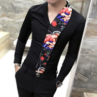Fashion Splice Flower Shirt Stampa Man Camisa Masculina Primavera Nuovo modello manica lunga Slim Fit Camicie Nightclub Chemise Homme