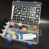 30 farbe glitter pulver 6 leuchtende glitter 4 kleber hohl vorlage kit für temporäre tattoo kinder gesicht körper diy diy malerei kunst
