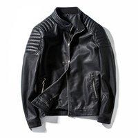 Songsanding İlkbahar Sonbahar Biker Deri Ceket Erkekler Kürk Motosiklet PU Casual Slim Fit Dış Giyim Erkek Siyah Giyim Artı boyutu M-4XL