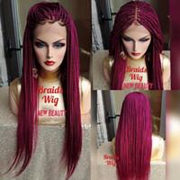 Las trenzas de color rosa caliente Mirco rojo trenzado pelucas con el pelo del bebé barato del trenzado del pelo a prueba de calor sin cola sintética del frente del cordón pelucas para mujeres Negro