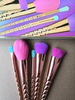 Pennelli trucco set spazzola delle estetiche 5 brillante colore oro rosa a spirale gambo spazzola di trucco strumenti trucco vite unicorno