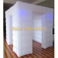 Портативная Надувной Photo Booth корпуса DIY сеого Фото Палатка с цветами LED Изменением Светых и Внутренней воздуходувки для Рождества, Нового года