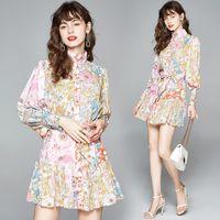 Primavera Verão Runway Autumn Floral Imprimir Mock pescoço Belt Bow Lanterna Botão Manga Frente Mulheres ocasional das senhoras do partido Mini Vestido camisa