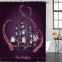Fabric Shower Curtain Purple Octopus Vessel Shower Curtains ...