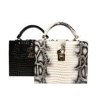 Luxury Python Pattern Leather Handbag Trunk PU Bags Women Long Chain Shoulder Bag Eneving Bags for Party