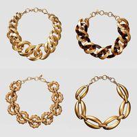 Dvacaman ZA Черепаха смолы заявление ожерелье геометрический золотой цвет металлическая цепь колье ожерелье женский Bijoux 2019 двойной одиннадцать