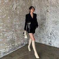 Mulheres Blazer Jacket Casual Enrole Lace Up Trabalho de escritório Senhora Preto Blazers Feminino 2020 de Moda de Nova Suits Brasão Casacos