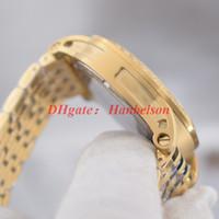 Mode hommes cadran bleu montres Mouvement à quartz PVD noir bracelet en acier inoxydable à deux tons orologio di lusso
