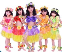 Wholesale 30セット/ロットハワイフラスカートセットハワイアンコスチュームスカート子供フランドスセットハワイアングラススカートパーティー用品5色