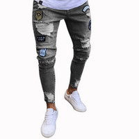Sexy Ripped Holes Jeans Men Fashion Patchwork Straight Denim...