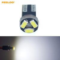 FEELDO 10 UNIDS Coche Blanco T5 0.5W 6000K 3SMD 1210/3528 CANBUS Sin Error LED Bombilla DC12V # 1151