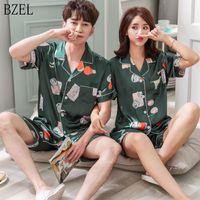 여성 잠옷 Bzel 커플 잠옷 Pijamas 여성 새틴 파자마 여자 홈 착용 실크 세트 정장 큰 크기 드롭