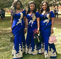 2021 Royal Azul Sirena Dama de honor Vestidos de la dama de hombros de la manga corta apliques de manga corta más tamaño boda vestidos de invitados Maid of Honor Vestido