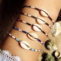 corda intrecciata braccialetto colorato bohemien braccialetto di Shell spiaggia colorato perline stile riso a mano
