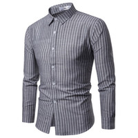 2019 new Mens Business Casual Long Sleeved Shirt Classic Str...