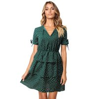 elegant woman green polka dot print dress for lady American ...