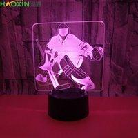 Illusione Haoxin Tee Hockey 3D LED di notte della lampada della luce 7 RGB colorati USB alimentato quinta batteria del tasto di Bin tocco trasporto di goccia Gift Box