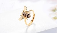 Luxury Stone Gold Plated bee Ring Women Girl Elegant Rose Go...