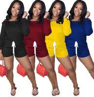 Kadın Tulum Tulum Uzun Kollu Kapalı Omuz T-shirt Şort Pantolon Genel Düz Renk Tek Parça Kısa Pantolon İpli Şort Yeni CZ608