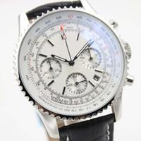 Novo Esporte Data Relógios Chronometre Navitimer Quartzo Cronógrafo Relógio Mens Clássico Relógio De Pulso Branco Dial Black Leather Strap