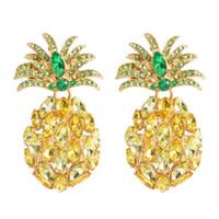 파인애플 다이아몬드는 여자를 위해 매달렸다 호화스러운 결정 다채로운 매력 샹들리에 귀걸이 합금 모조 다이아몬드 과일 쥬얼리 무료 배송