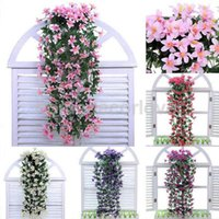 Bunch Silk Hanging Plants Artificial Lily Flower Garland Wed...