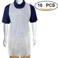 100pcs التي / مجموعة المتاح الأبيض شفاف سهل الاستخدام تنظيف ساحة مطبخ مآزر للنساء الرجال مطبخ طبخ المئزر