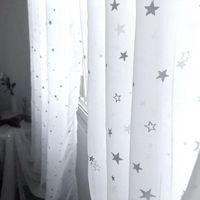 Beyaz Parlak Şerit Yıldız Tül Perde Oturma Odası Için Modren Tüm-Maç Iplik Pencere Perdeler Sırf Yatak Odası Ev Dekor Için