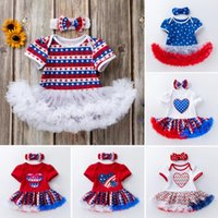 Baby Girl Rompers 4th of july Jumpsuits Headbands Suit Ameri...