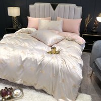 Lusso Seta moda Queen Size Beige Gilrs Bedding Set Copripiumino Set Decoration moderna Bed Set caso con federa