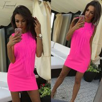 Mulheres sexy dress borla cor fluorescente verão casual dress sem mangas mini fit slim dress lady vestidos lj4898r