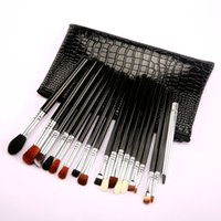 19Pcs Eye Makeup Brush Set With PU Bag Wooden Handle Facial ...