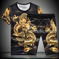 BATMO 2019 новое прибытие летом высокого качества ледяного шелка с принтом футболки дракона наборы мужчин, мужские шорты комплекты плюс-размер M-7XL 192
