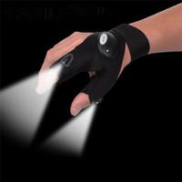 Gants de pêche en plein air noir lampe de poche LED camping randonnée randonnée outils de sauvetage gants lumineux 2 feux lumière blanche
