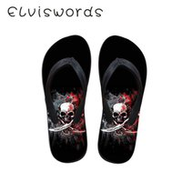 Pantofole da donna Summer Beach Flip Flops Beach Flat Skull Stampato Cool Small Fashion Casual Calzature casa antiscivolo Slipper
