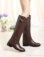 ح الأحذية أزياء النساء تصميم حقيقي الشتاء الأحذية الجلدية الخريف أبازيم أحذية جلد البقر الإناث كيلي الأحذية أحذية عالية في الركبة zapatos
