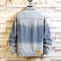 남자 자켓 가을 봄 2021 플러스 사이즈 7xl 6xl 5XL 4XL-L 최대 가슴 146cm 데님 청바지 자켓 남성 스탠드 칼라 캐주얼 패션 옷