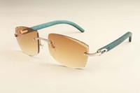2019 neue Fabrik direkt Luxus-Mode ultraleichte Sonnenbrille 3524015-B natürlicher blauer Holztempel Sonnenbrille Gravur Spiegel