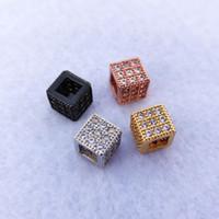 Geométricas de la moda CZ perlas cuadrado para los brazaletes joyería que hace encantos del espaciador de los granos DIY Accesorios CT517