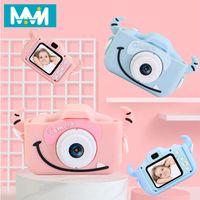 Avec étui de protection numérique 2 pouces USB écran HD de charge Photographie de jouet en plastique Cartoon enfants Sports caméra double lentille Mini