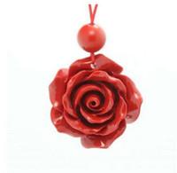 Pendentif rose en forme de cinabre naturel Pendentif lotus en porcelaine de Taiwan