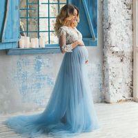 Baby Shower Sukienka Koronki Top Light Blue Tulle Suknie Ślubne Ciąży Maternity Suknie Ślubne Wiosna Dostosuj Plus Size Vestidos de Novia