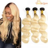 Zwei Ton Ombre Brazilianische Haar 1b / 613 Blonde Körperwelle Human Haare Webart Bündel Gagaqueen Haare