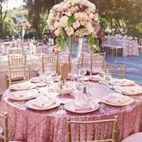 B · Y Ronda de lentejuelas Mantel 132inch-330cm Rosa Cubierta de mesa lentejuelas de oro para la Navidad boda del partido de la decoración-9531