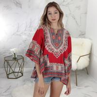HISIMPLE 2019 Vintage Boho Gömlek Elbise Kadınlar Tunik Casual Plaj Elbise Afrika tasarlanan Baskı Gömlek Elbise Robe Femme Artı boyutu dashiki