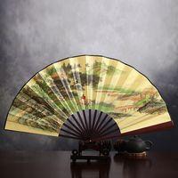 """8 """"手作りの折りたたみ中国のシルククロスファンの結婚式のパーティーの良い民族ダンスショーの支柱の扇風機の携帯用竹の手持ち箱の箱"""