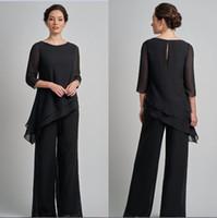 Pantalon de costume noir mère de taille Plus en mousseline de soie costume pas cher à manches longues Irregual mère de la mariée marié mariage robes de soirée