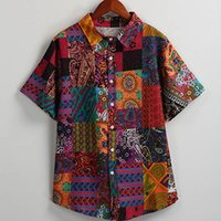 Vintage Men Summer Blouse 4XL 5XL Big Size Colorful Print Co...