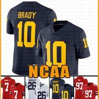 дешевые Мичиган Росомахи 10 Тома Брэди Американский футбол Джерси 10 Tom Brady 97 Nick Bosa 26 Saquon Barkley Jerseys Мужская DUNT